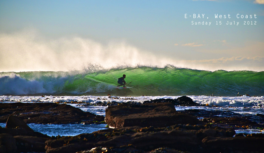 While the country's best right-hander was playing host to the current stars of world surfing, the country's best left was keeping a future star entertained. Cape super grom Brandon Benjamin tucks in at E-Bay. Image by: Cayla van Wyk / Shotbru