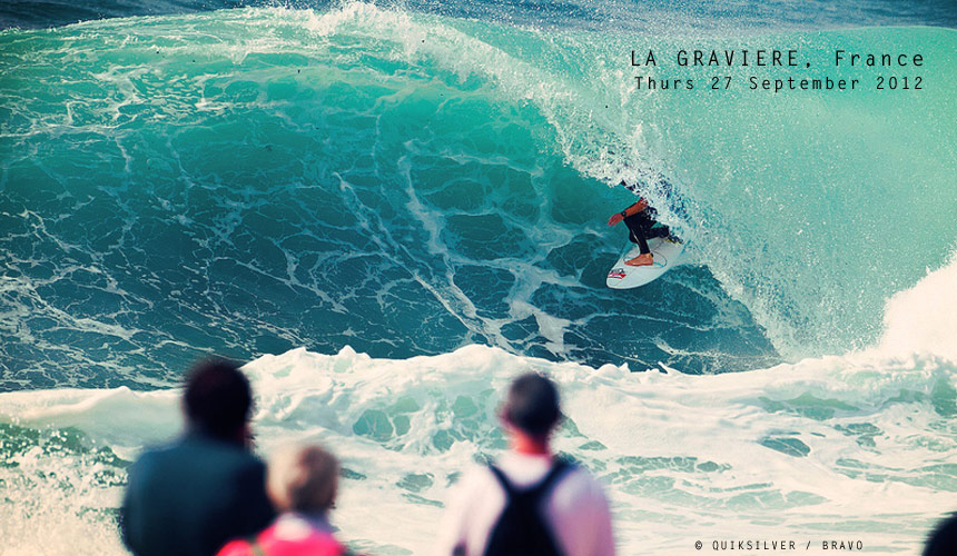 Thick pits, some broken boards and a few pin-drops into the flats - that's what went down at La Graviere yesterday as the Surfdome Trials kicked off the Quiksilver Pro France. Here's Beyrick slotting into the trails and loving France. Check out more at www.quiksilverlive.com