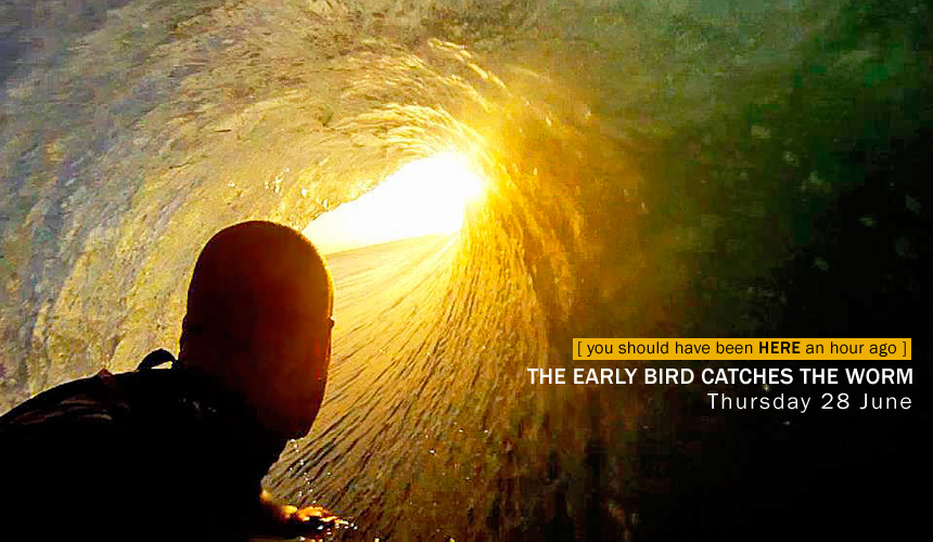 The early bird catches the worm. In this case the early bird is Zag's old online editor Brandon Bradley who's letting all his old colleagues know exactly what they've been missing out on over deadline. Snapped this morning, somewhere on the east coast.