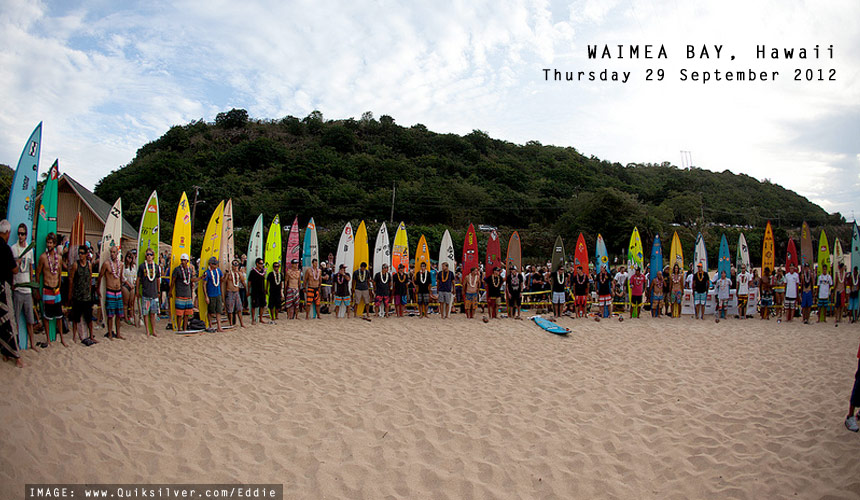 Many of the world's proven big wave chargers gathered together for the traditional opening ceremony for the Quiksilver in Memory of Eddie Aikua. The question, as always, is whether we're going to see the running of the event this year, or will the ocean hold back and leave us teased, but not satisfied. Image: quiklsiver.com/eddie