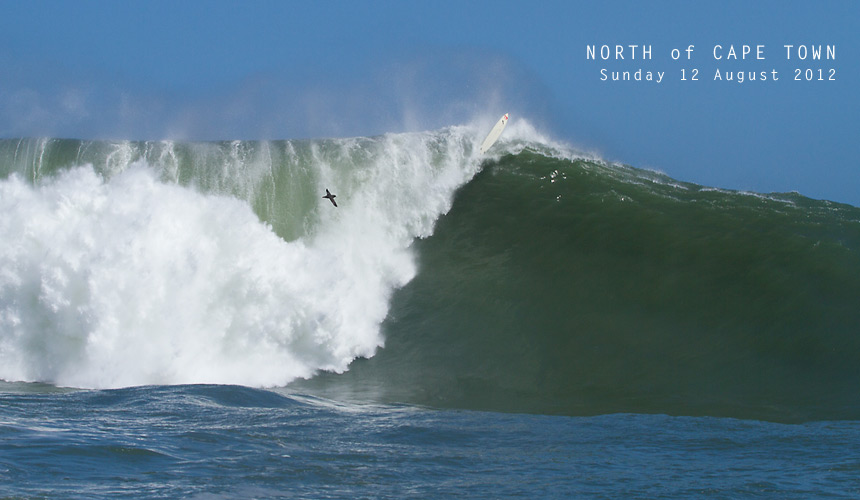 How's this for a BIG discovery? That's Mark Healey's 9'8 stuck in the lip of a massive wave at a new big wave spot that photographer Ant Fox and Twiggy have had their eye on for some time.