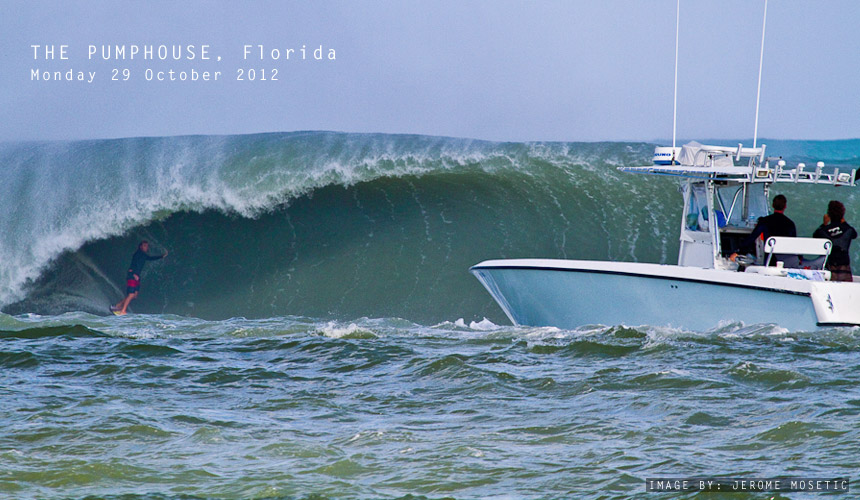 While the rest of the US east coast were battening down the hatches in preparation for Hurricane Sandy's (aka the Frankenstorm) imminent arrival, surfers up and down the coast were catching their fill of pumping waves. Here's Peter Mendia standing tall at the Pumphouse in Palm Beach, Florida.<br /> Image by: Jerome Mosetic