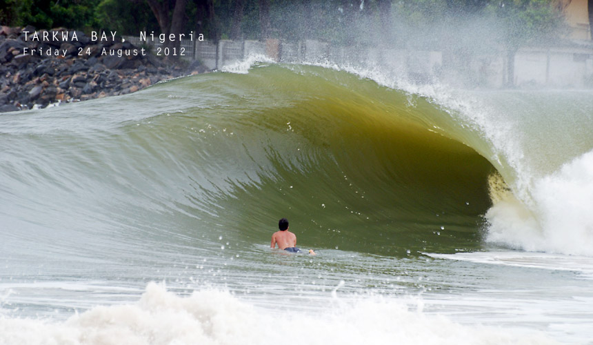 While his mates in Cape Town have been sending reports of secret sandbanks and fun barrels, Nigerian local John Micheletti has reported nothing out of the ordinary. Tarkwa Bay looking as good as ever.