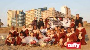 The grade 1, 2 and 3 learners of Camelot College put their Tuffy bags to good use at Addington Beach, Durban.