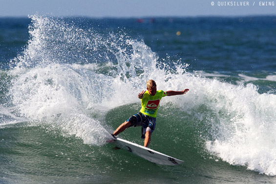 Dylan, carving to the final of the recent Quiksilver Pro Junior at New Pier.