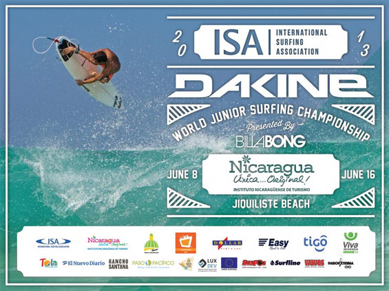 The 2013 DAKINE ISA World Junior Surfing Championship Presented by Billabong will be held at the world-class beach break in Playa Jiquiliste, Nicaragua from June 8-16.