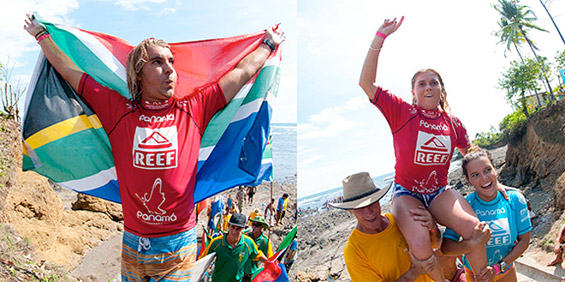 South Africa's Shaun Joubert is the new Men's Champion and Australia's Dimity Stoyle is the Open Women's Champion at the Reef ISA World Surfing Games. Photo: ISA/Rommel Gonazales